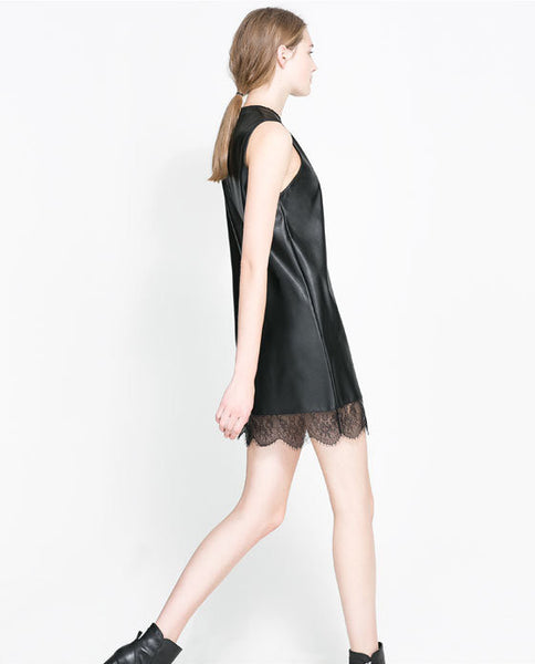 Lace Leather Dress