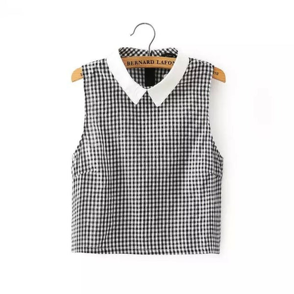 Checked Peter Pan Collar Blouse