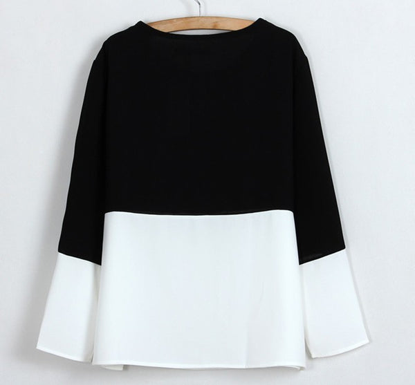 Contrast O-Neck Blouse