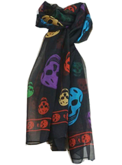 Black Multi Colored Skull Scarf