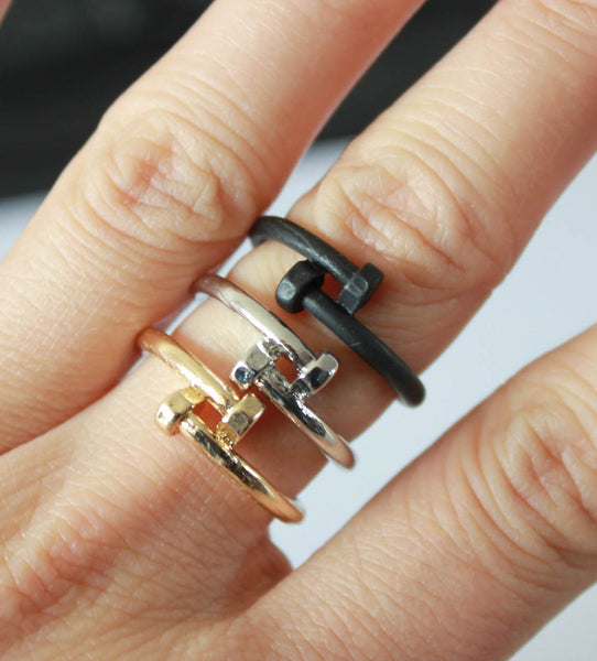 Double Nail Bolt Ring