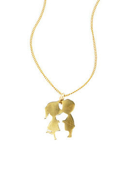 Boy Girl Kissing Necklace