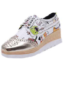 Cartoon Print Platform Oxfords
