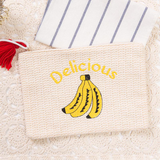Embroidered Straw Clutch