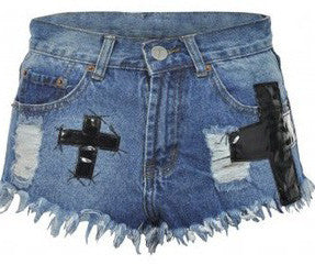 Denim Cross Shorts