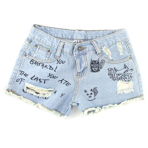 Retro Rock Denim Shorts