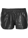 Elastic Leather Shorts