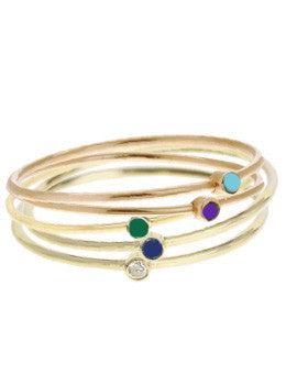 Enamel Stone Ring Stack Set