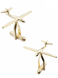 Gold Airplane Cufflinks