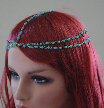Turquoise Beaded Head Chain