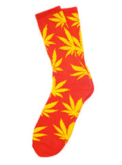 Red Plant Leaf Socks