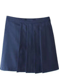 Navy Woven Pleated Skirt
