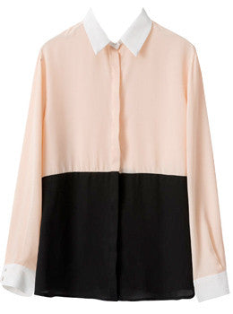 Colorblocked Surplice Blouse