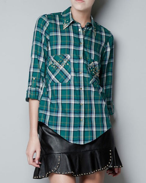 Plaid Rivet Stud Blouse