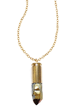 Gold Quartz Bullet Necklace