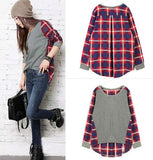 Retro Plaid Trim Blouse