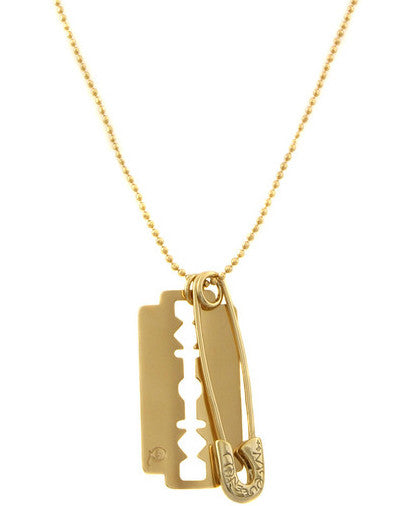 Razor Blade Safety Pin Necklace