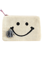 Woven Smiley Face Clutch
