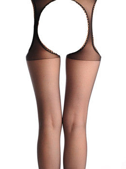Attached Belt Trim Stockings