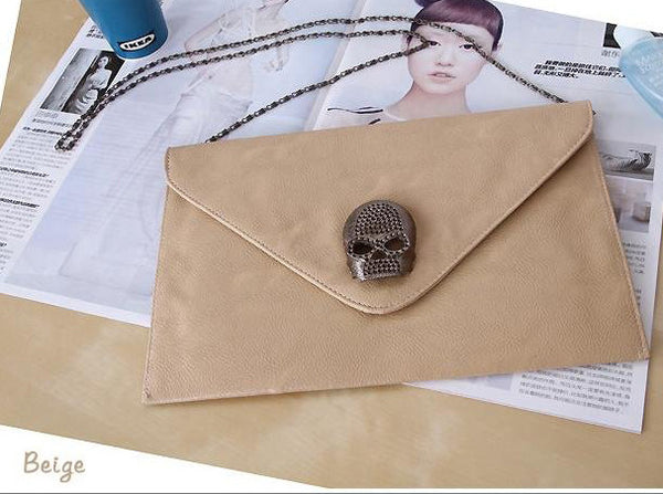 Beige Skull Rock Clutch