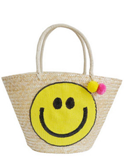 Happy Face Straw Tote
