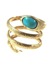 Coiled Turquoise Head Snake Ring