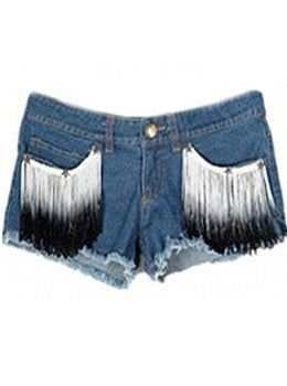 Ombre Tassel Denim Shorts