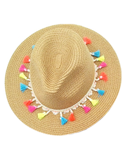 Straw Tassel Trim Hat