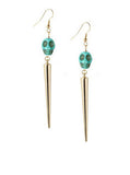 Turquoise Skull Spike Earrings