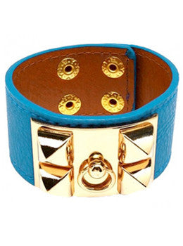 Vivid Leather Pyramid Cuff Bracelet