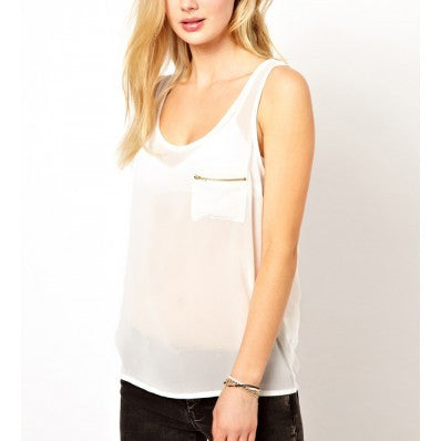 Zippered Chiffon Tank