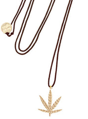 Leather Hemp Leaf Necklace