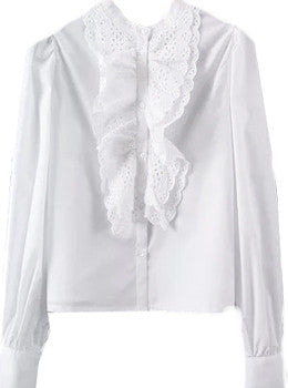 Ruffled Button Front Blouse