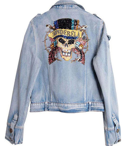 Beaded Denim Skull Jacket