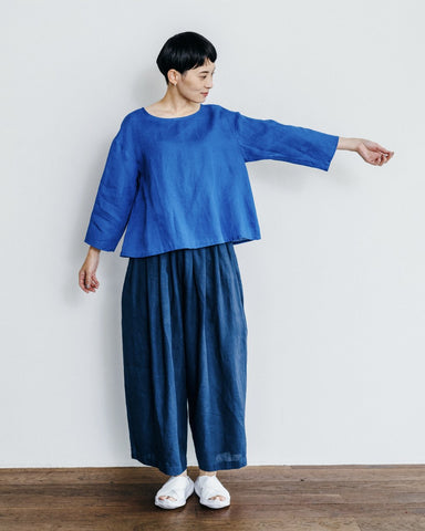 Fog Linen Work Nancy Wide Pants - Blue Marine