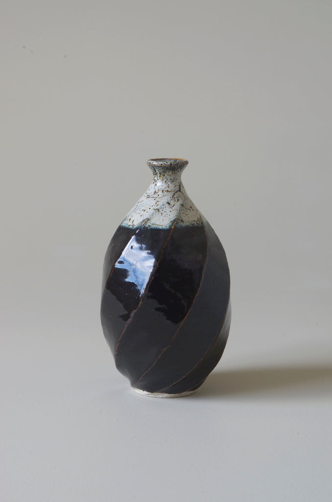 Terunobu Hirata Twist Faceted Shirahagi on Tenmoku Bottle