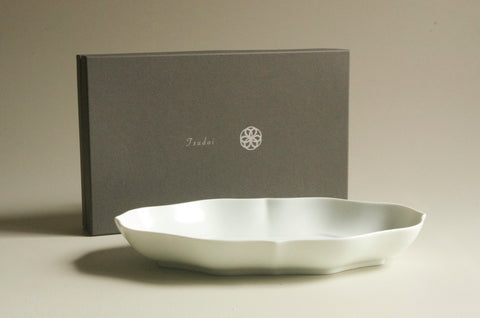 TSUDOI Long Rinka Flower Bowl with Bluish White Glaze