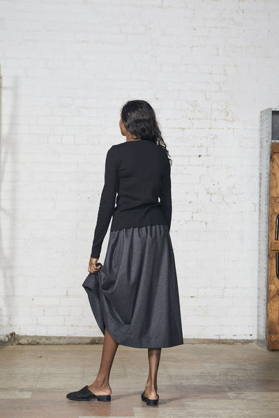 Lois Hazel Pleat Skirt Charcoal