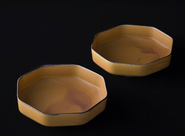 TSUDOI Octagonal Bowl with Mustard Yellow Glaze