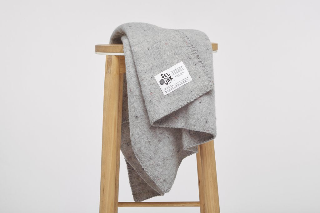 Seljak Recycled Wool Blanket - Baby Grey