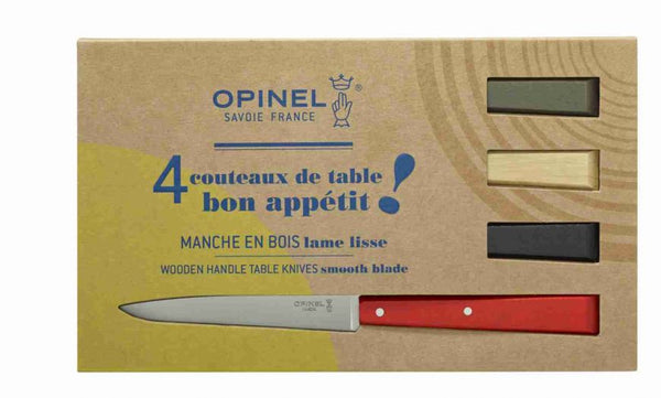 Opinel Bon Appetit Colour wood handle table knives set of 4