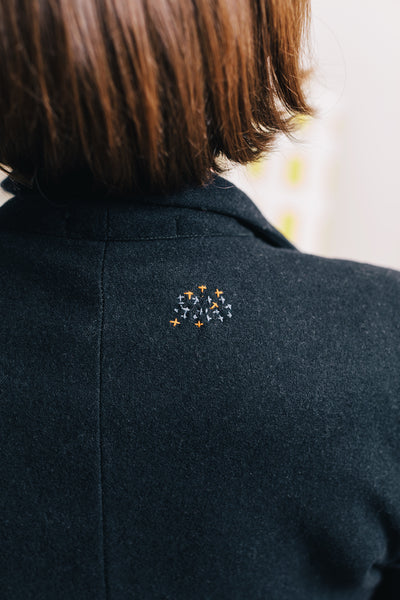 ReWork Navy Wool Jacket with Visible Repair