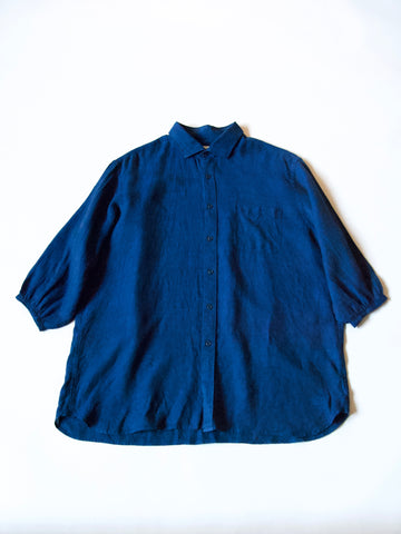 ReWork blue linen shirt with gather sleeve