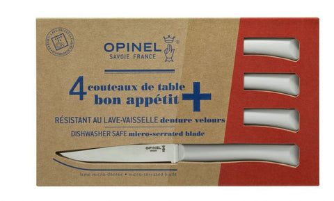 Opinel Bon Appetit + Microserrated Table Knife Box Set of 4 - Cloud