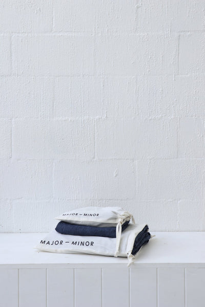 Major Minor European Linen Australian Made Fitted Sheet - Inkstripe