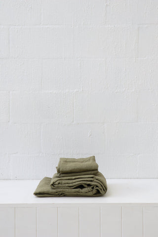 Major Minor European Linen Australian Made Fitted Sheet - Olive