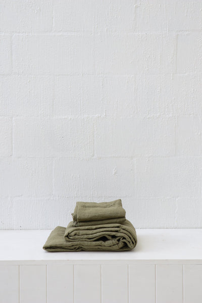 Major Minor European Linen Australian Made Flat Sheet - Olive