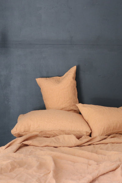 Major Minor European Linen Australian Made Quilt Cover - Terracotta