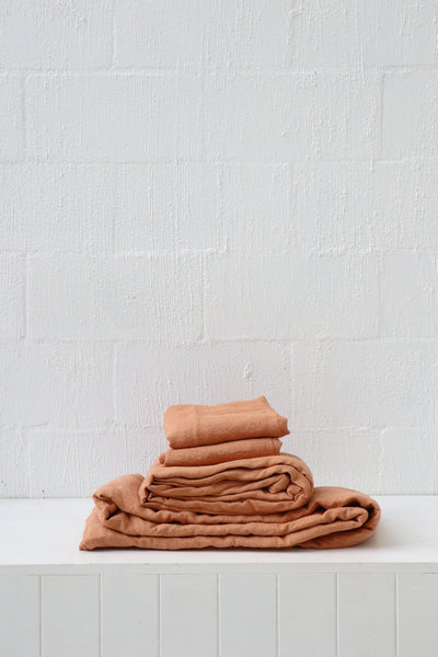 Major Minor European Linen Australian Made Fitted Sheet - Terracotta