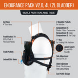 Endurance Pack 4L - V2.0 (2L bladder, 4L cargo): Ideal for running and biking